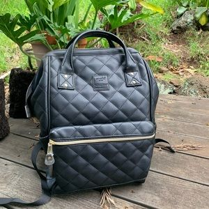 Black Quilted Anello Backpack
